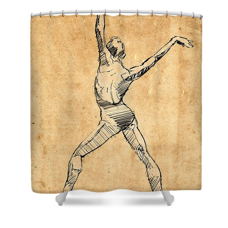 Ballet Shower Curtain featuring the drawing The Button by H James Hoff