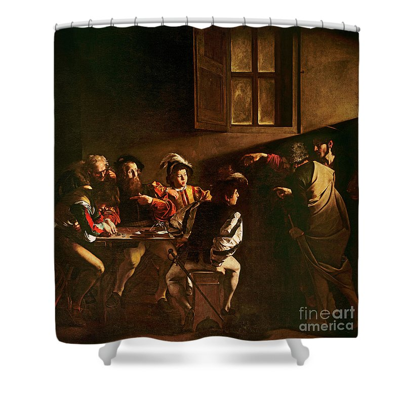 Chiaroscuro Shower Curtain featuring the painting The Calling Of St Matthew by Michelangelo Merisi o Amerighi da Caravaggio