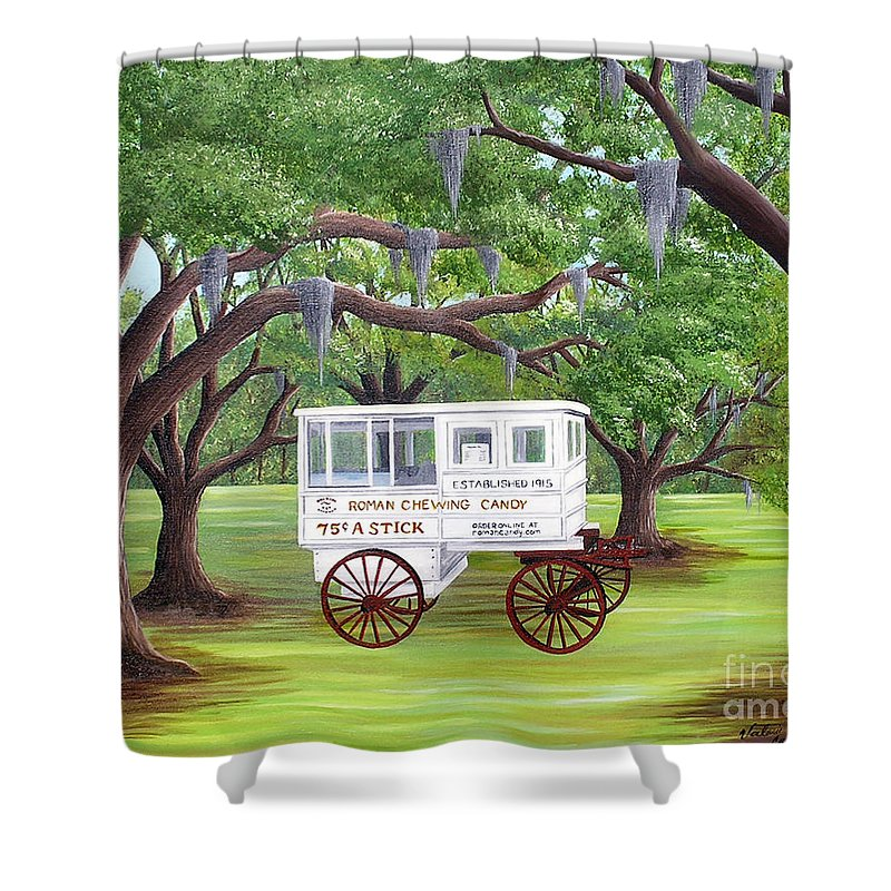 New Orleans Shower Curtain featuring the painting The Candy Cart by Valerie Carpenter