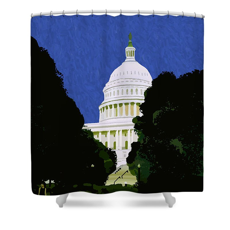 Capitol Shower Curtain featuring the painting The Capitol by Pharris Art