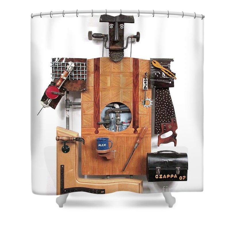 Czappa Shower Curtain featuring the sculpture The Carpenter  #16 by Bill Czappa