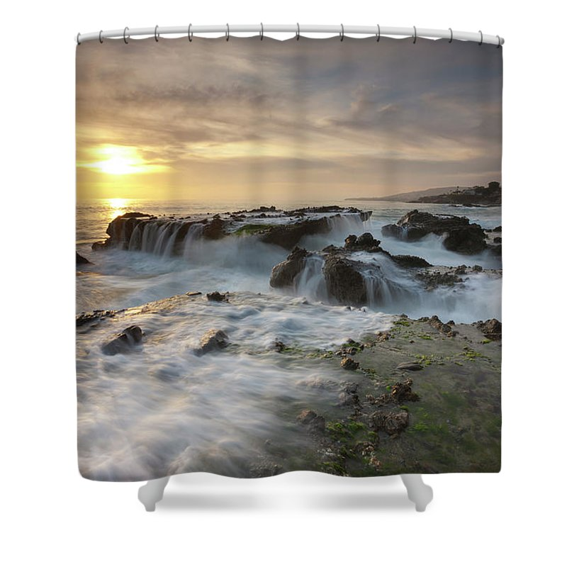 Scenics Shower Curtain featuring the photograph The Cauldron - Victoria Beach by Images By Steve Skinner Photography