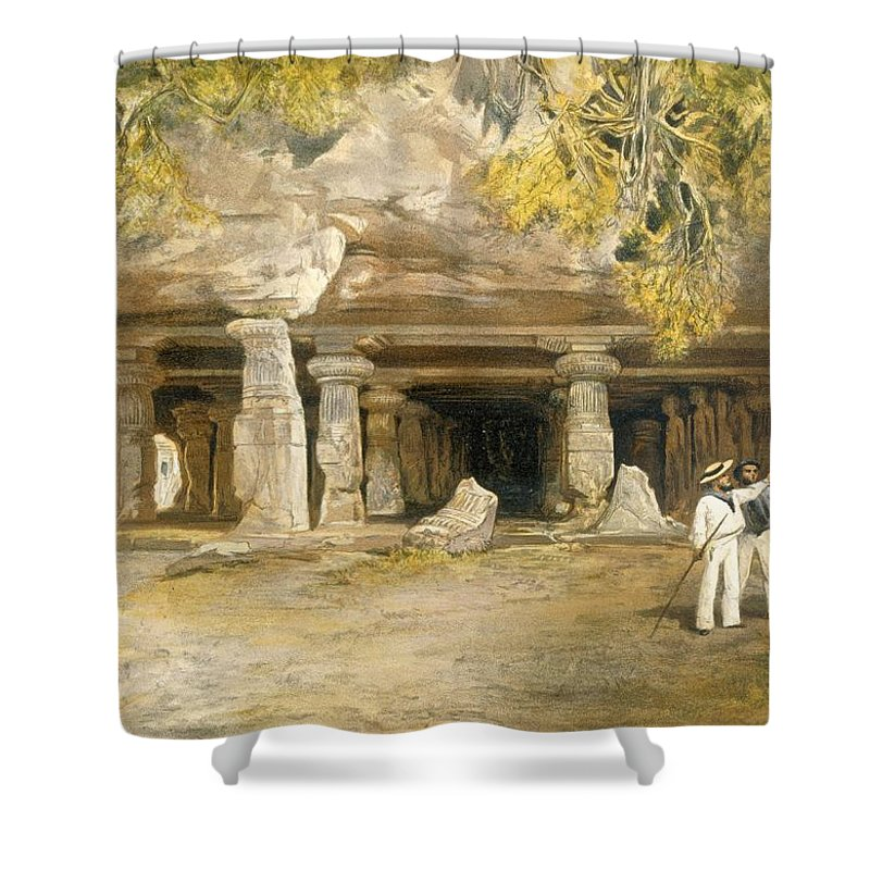 Indian Shower Curtain featuring the drawing The Cave Of Elephanta, From India by William 'Crimea' Simpson