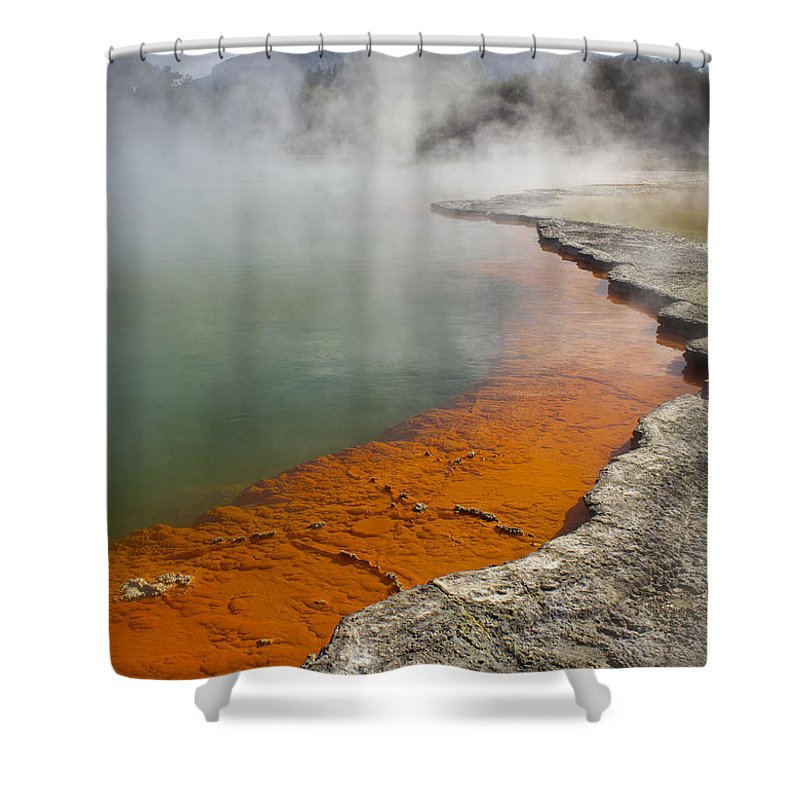 New Zealand Shower Curtain featuring the photograph The Champagne Pool At Wai O Tapu by Venetia Featherstone-Witty