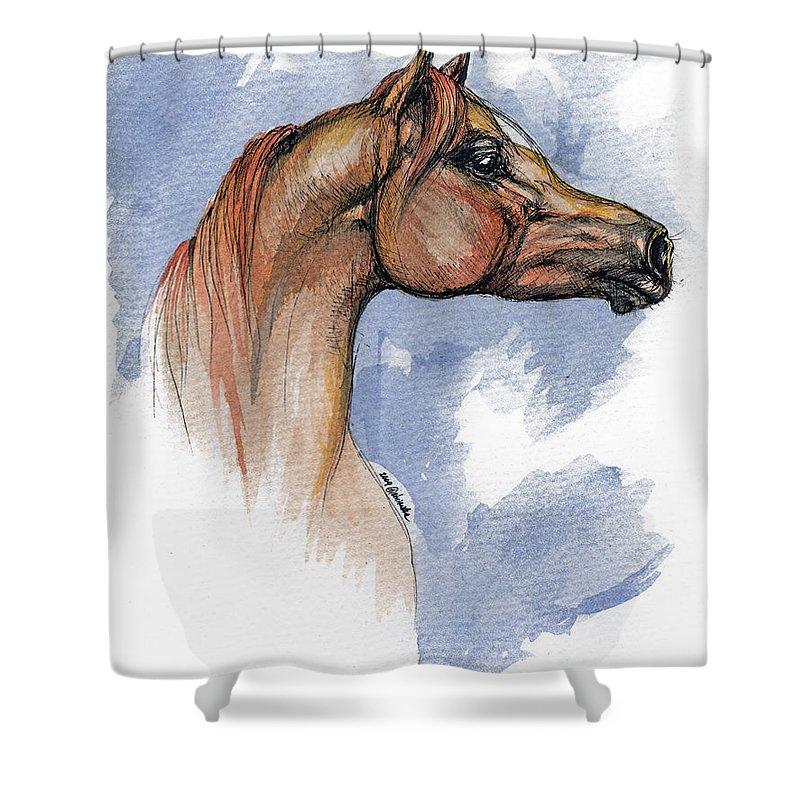 Arabian Shower Curtain featuring the painting The Chestnut Arabian Horse 4 by Angel Tarantella