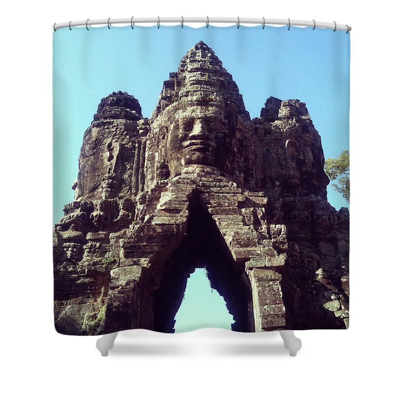 Arch Shower Curtain featuring the photograph The City Gates At Angkor by Lasse Kristensen