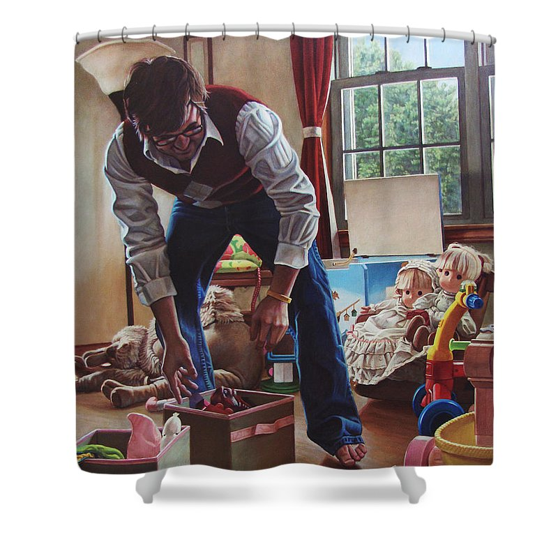Portrait Shower Curtain featuring the painting The Collector by Kenneth Cobb