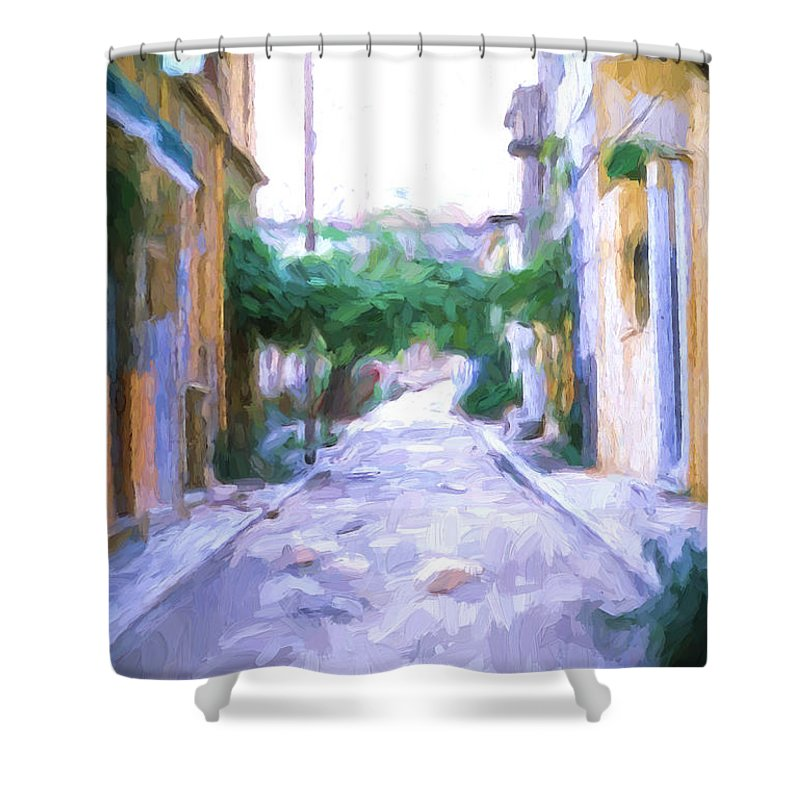Spanish Streets Shower Curtain featuring the digital art The Colors Of The Streets by Cathy Anderson
