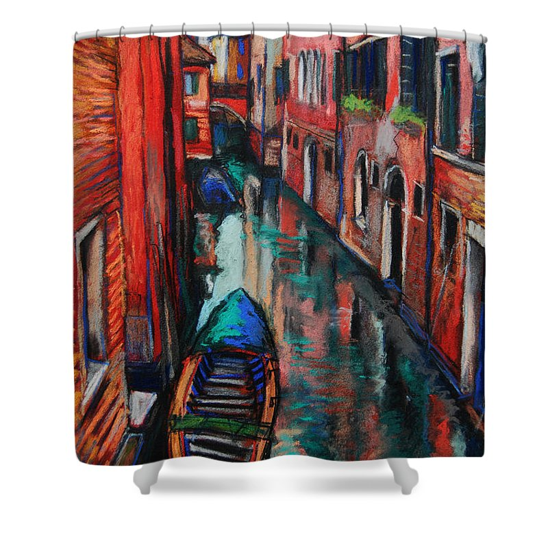 The Colors Of Venice Shower Curtain featuring the painting The Colors Of Venice by Mona Edulesco
