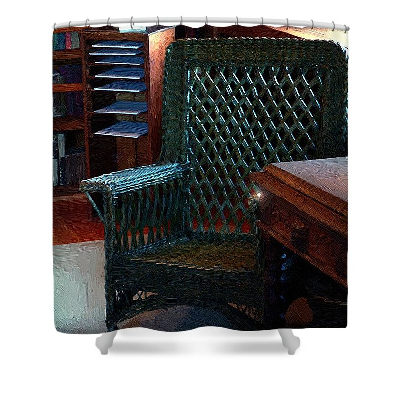 Antiques Shower Curtain featuring the painting The Consulting Room by RC DeWinter