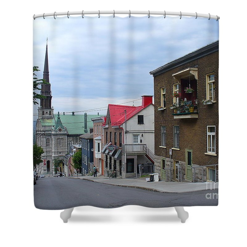 City Scape Shower Curtain featuring the photograph The Corner Of Rue Sainte Claire Overlooking Saint Jean Baptist Church by Lingfai Leung