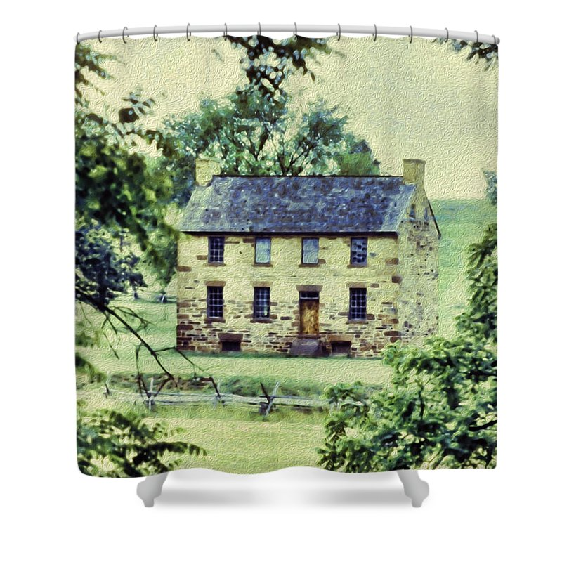 Shower Curtain featuring the digital art The Cottage by Cathy Anderson