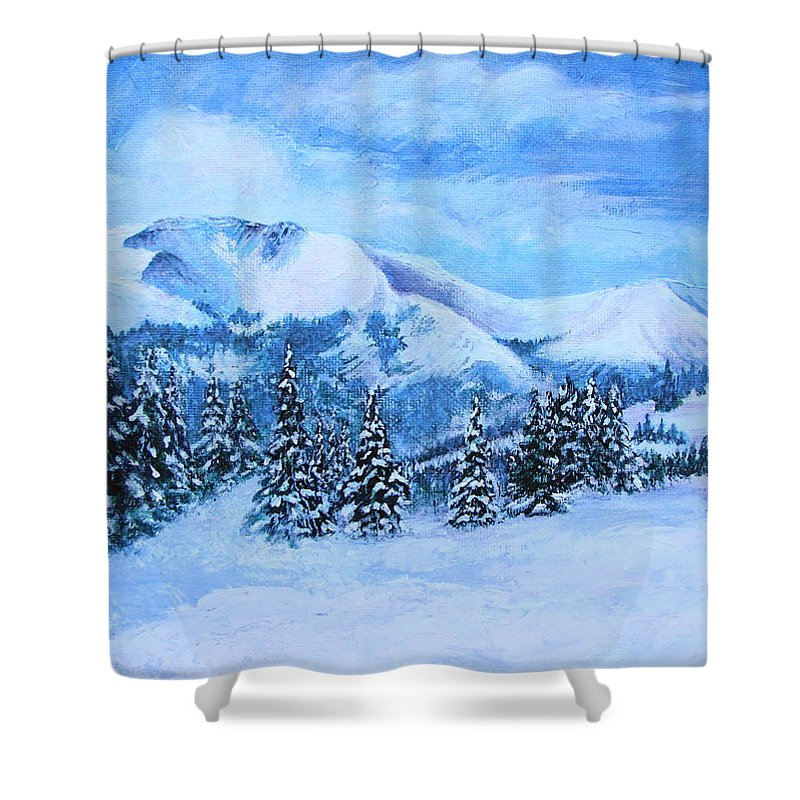 Cold Air Shower Curtain featuring the painting The Covering by Margaret Bobb