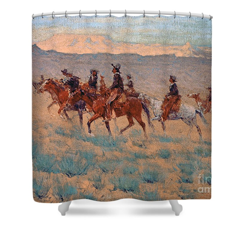 Remington Shower Curtain featuring the painting The Cowpunchers by Frederic Remington