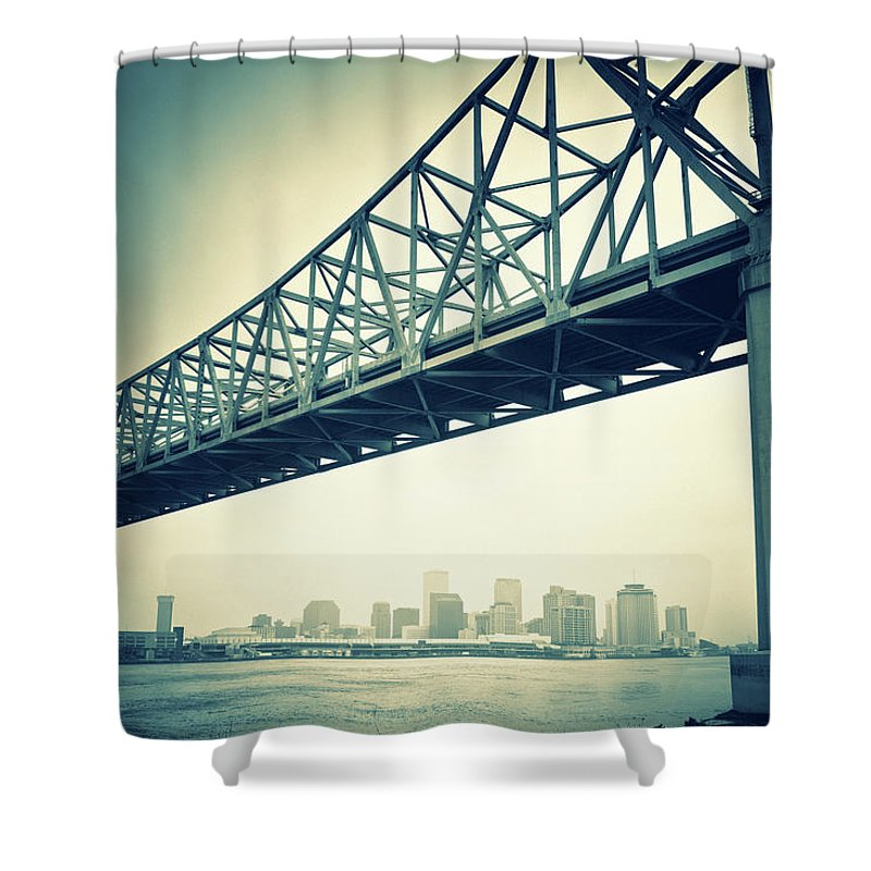 Desaturated Shower Curtain featuring the photograph The Crescent City Connection In New by Moreiso