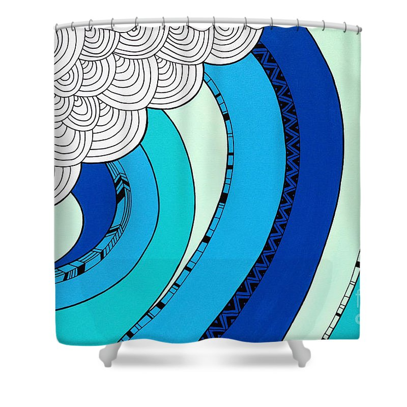 Sun Shower Curtain featuring the digital art The Curl by MGL Meiklejohn Graphics Licensing