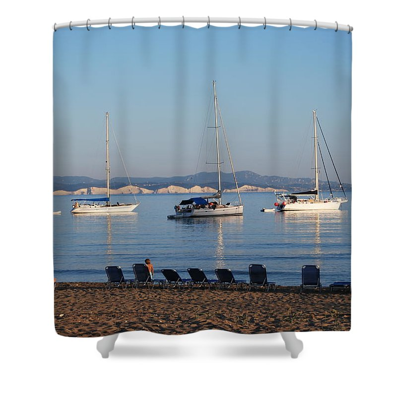 Erikousa Shower Curtain featuring the photograph The Day Is Gone Two by George Katechis