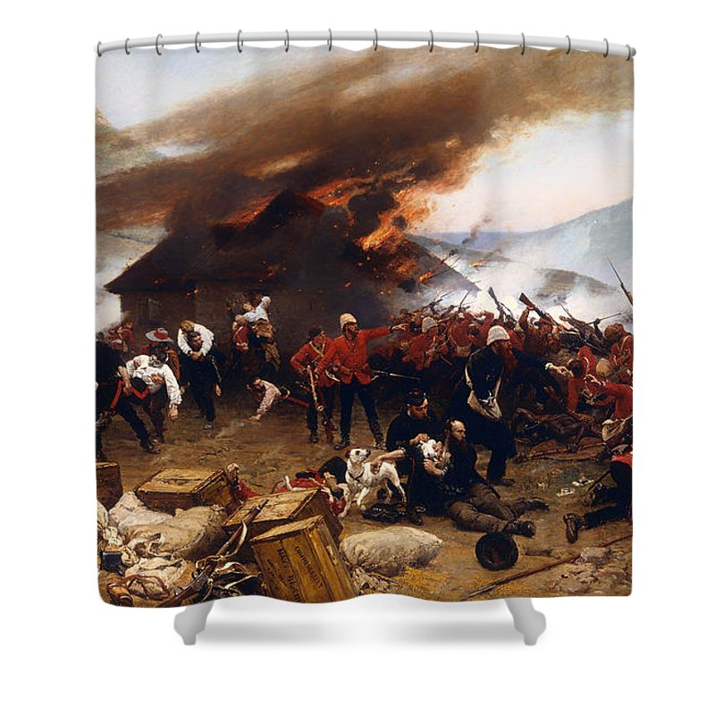 Painting Shower Curtain featuring the painting The Defence Of Rorke's Drift 1879 by Mountain Dreams
