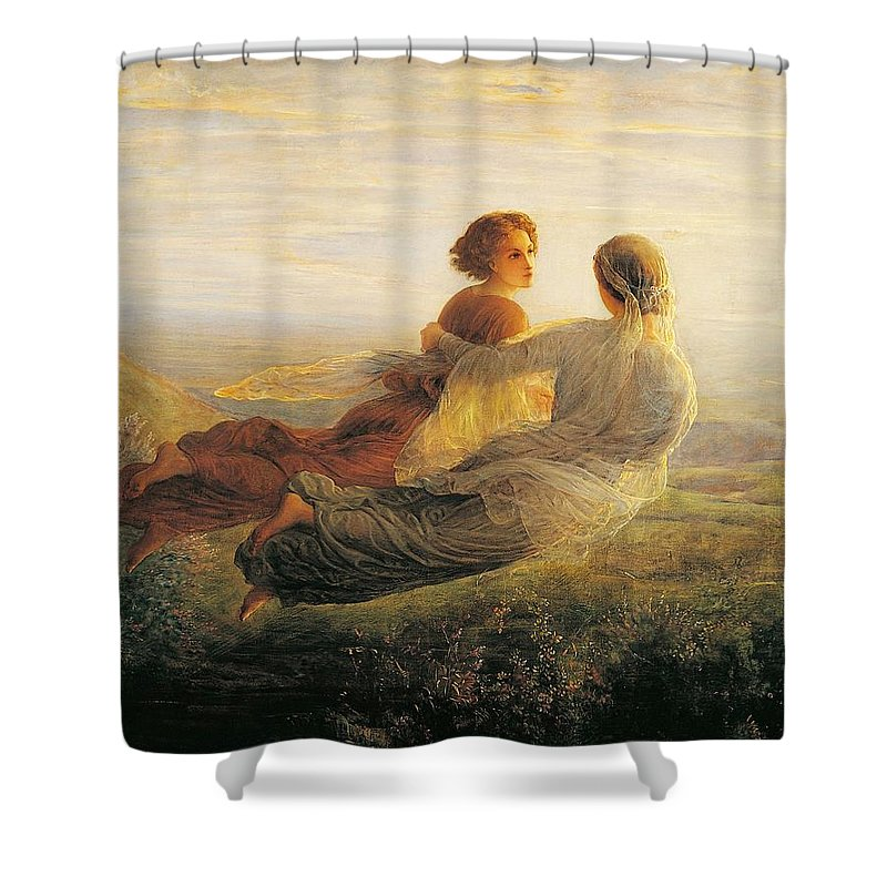 Painting; 19th Century Painting; Louis Janmot Shower Curtain featuring the painting The Departure Of The Soul by Louis Janmot
