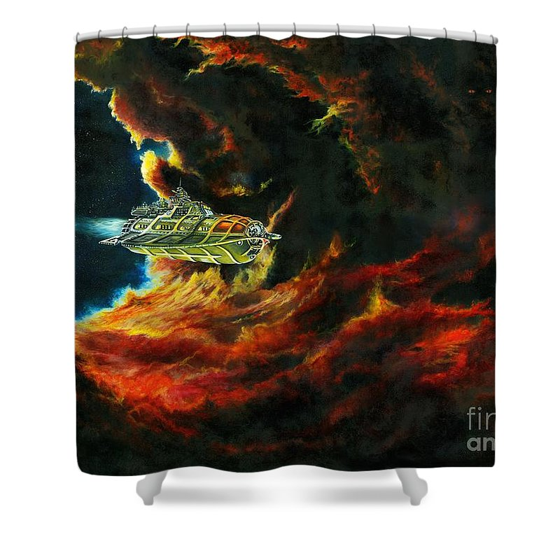 Devil Shower Curtain featuring the painting The Devil's Lair by Murphy Elliott