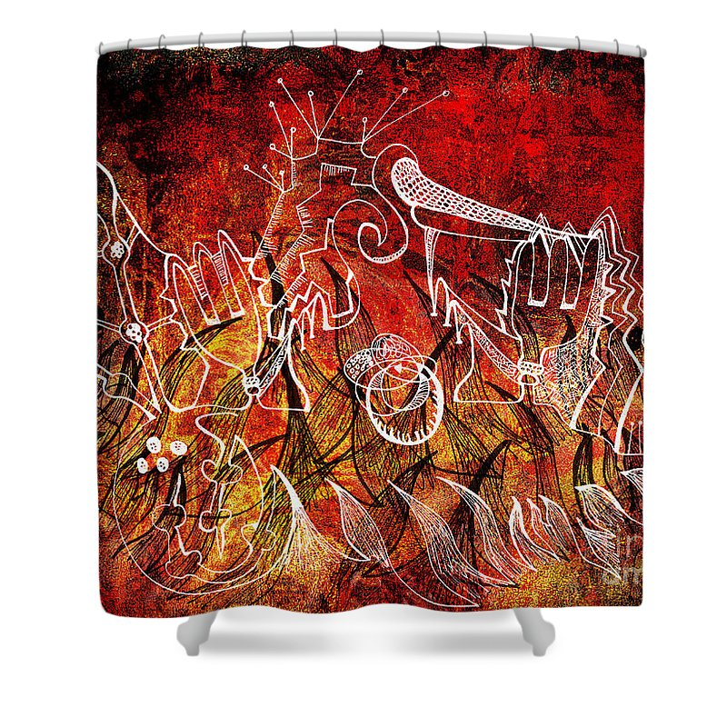 Halloween Shower Curtain featuring the painting The Devil's Markings Illuminate The Fires Of Hell by Nicole Beland