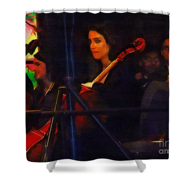 Musicians Shower Curtain featuring the painting The Devil's Orchestra by RC DeWinter
