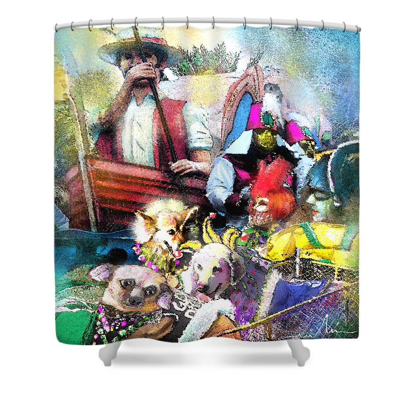 New Orleans Shower Curtain featuring the painting The Dogs Parade in New Orleans by Miki De Goodaboom