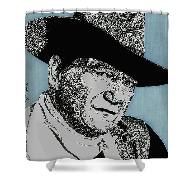 John Wayne Shower Curtain featuring the drawing The Duke by Cory Still