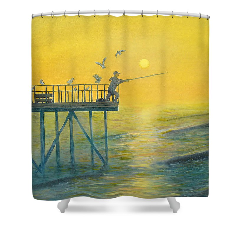 Pier Shower Curtain featuring the painting The Early Rod Takes The Cod by Ryan Williams