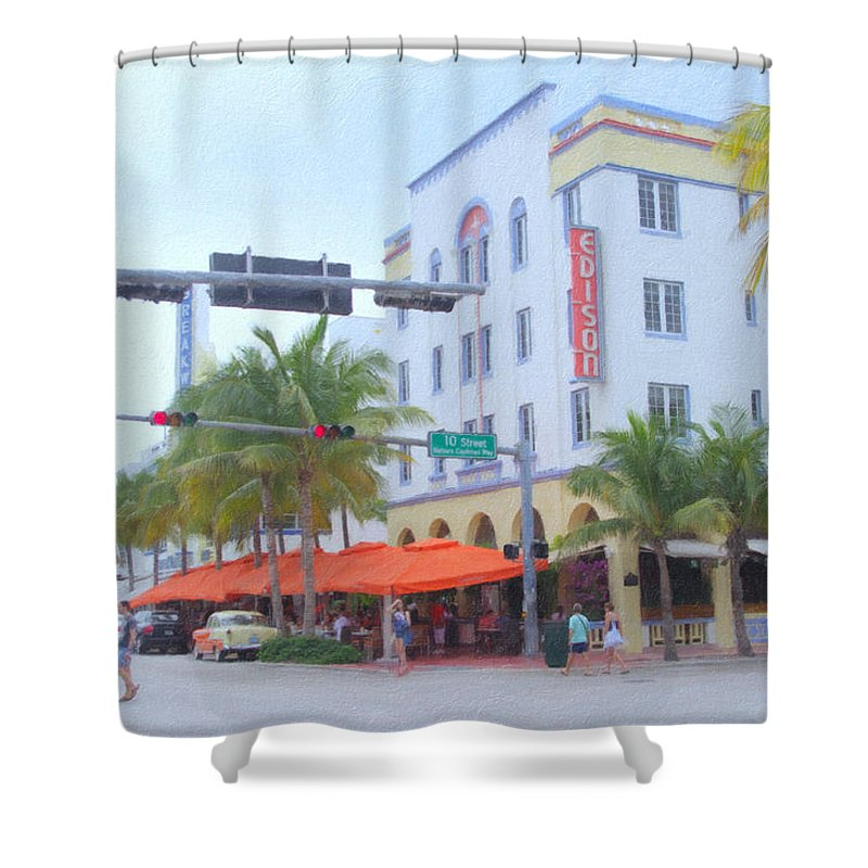 Art Deco Shower Curtain featuring the photograph The Edison by Tom Reynen
