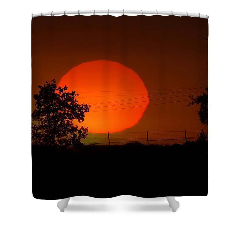 Sunset Shower Curtain featuring the photograph The End To A Hot Day by Shannon Story