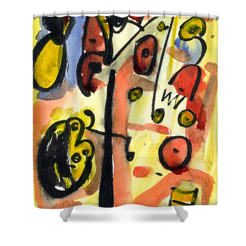 Abstract Art Shower Curtain featuring the painting The Equation by Stephen Lucas