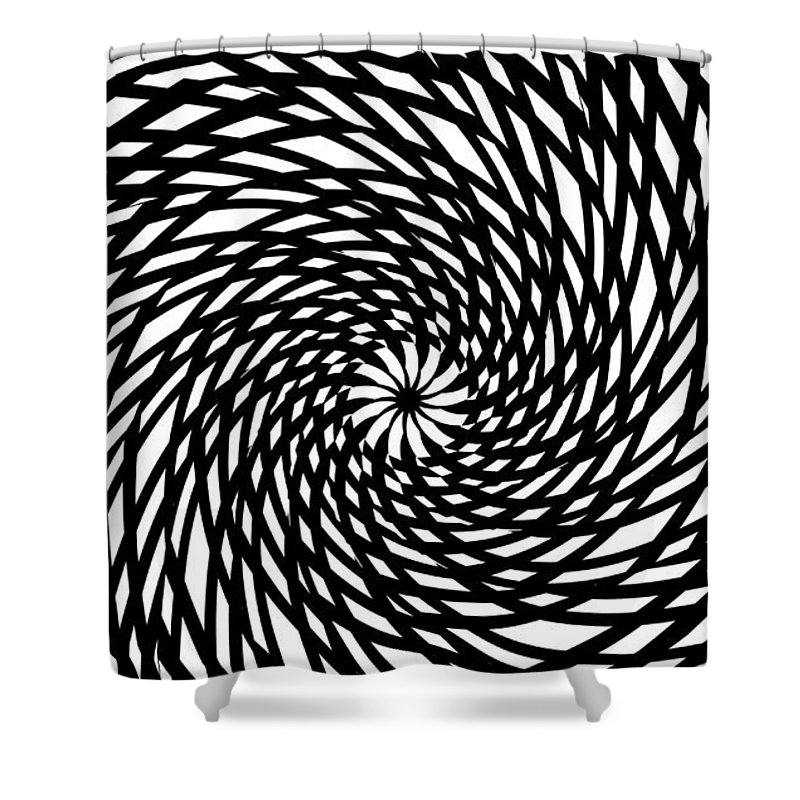 Abstract Lines Forms Spirale Eye Storm Expressionism Black White Digital Art Shower Curtain featuring the painting The Eye Of The Storm by Steve K