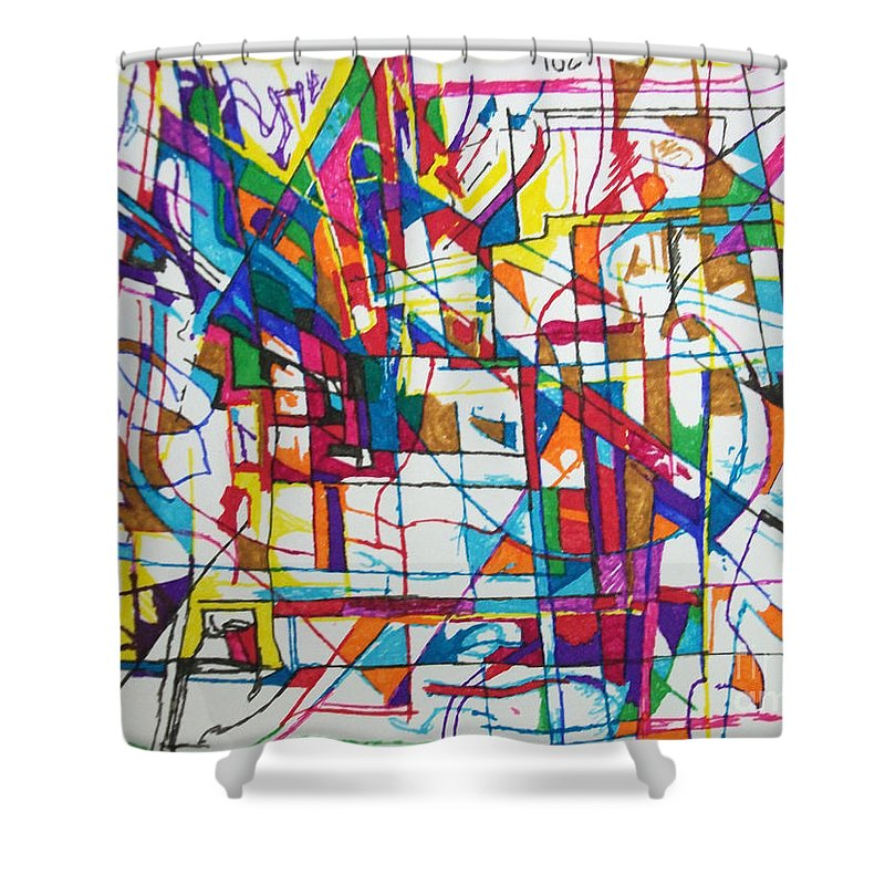 Torah Shower Curtain featuring the drawing The Faithful Village by David Baruch Wolk