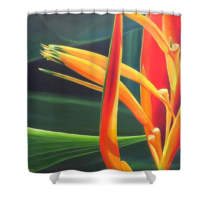Bird Of Paradise Shower Curtain featuring the painting The Final Flame by Hunter Jay