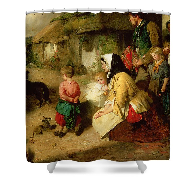 Leaving Home Shower Curtain featuring the painting The First Break In The Family by Thomas Faed