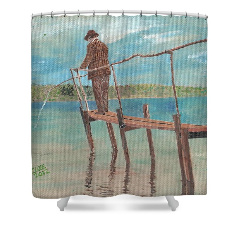 Landscape Shower Curtain featuring the painting The Fisherman by Cliff Wilson