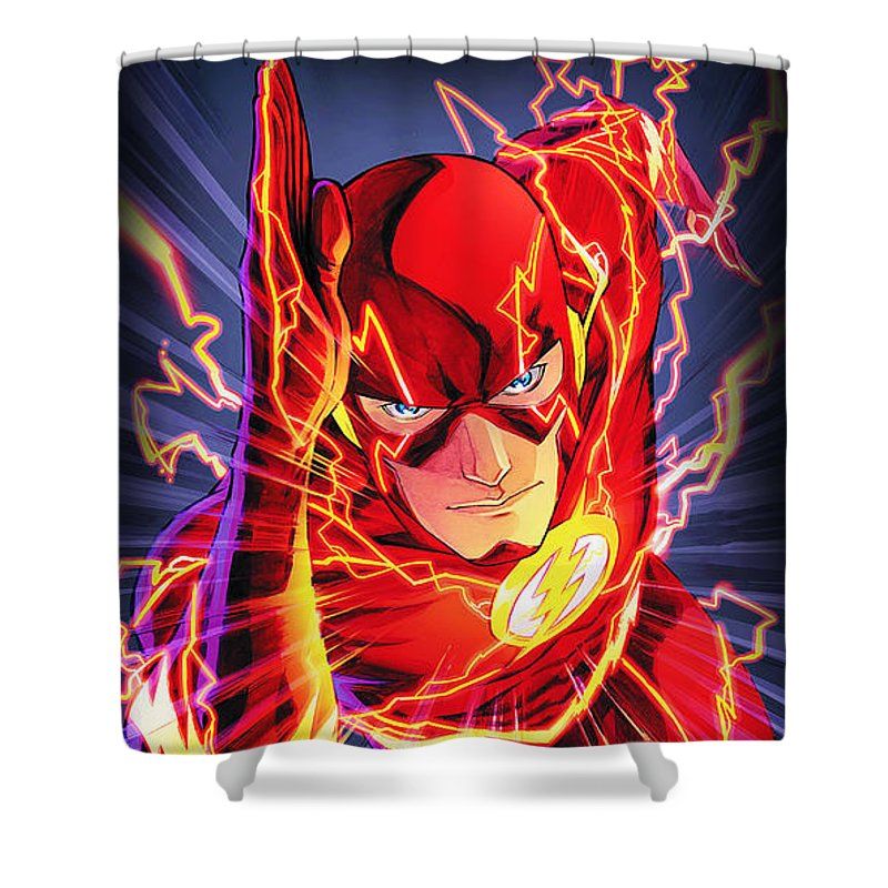 The Flash Shower Curtain featuring the drawing The Flash by FHT Designs