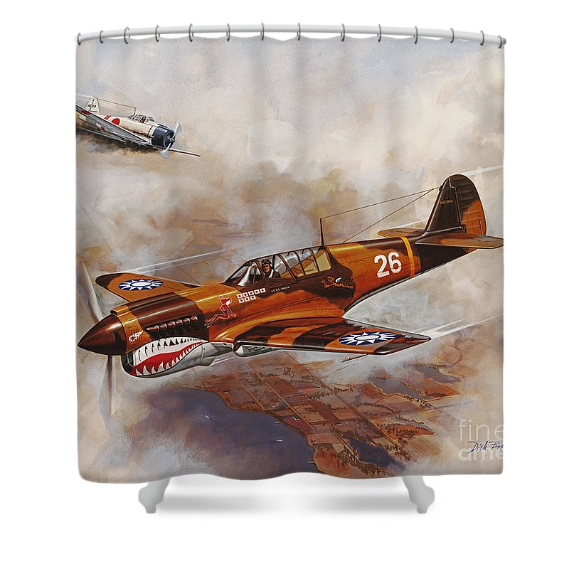Aircraft Shower Curtain featuring the painting The Flying Tigers by Dick Bobnick