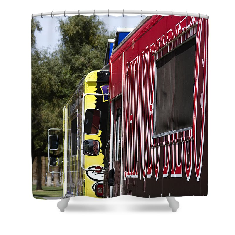 Food Shower Curtain featuring the photograph The Food Truck by Yousif Hadaya