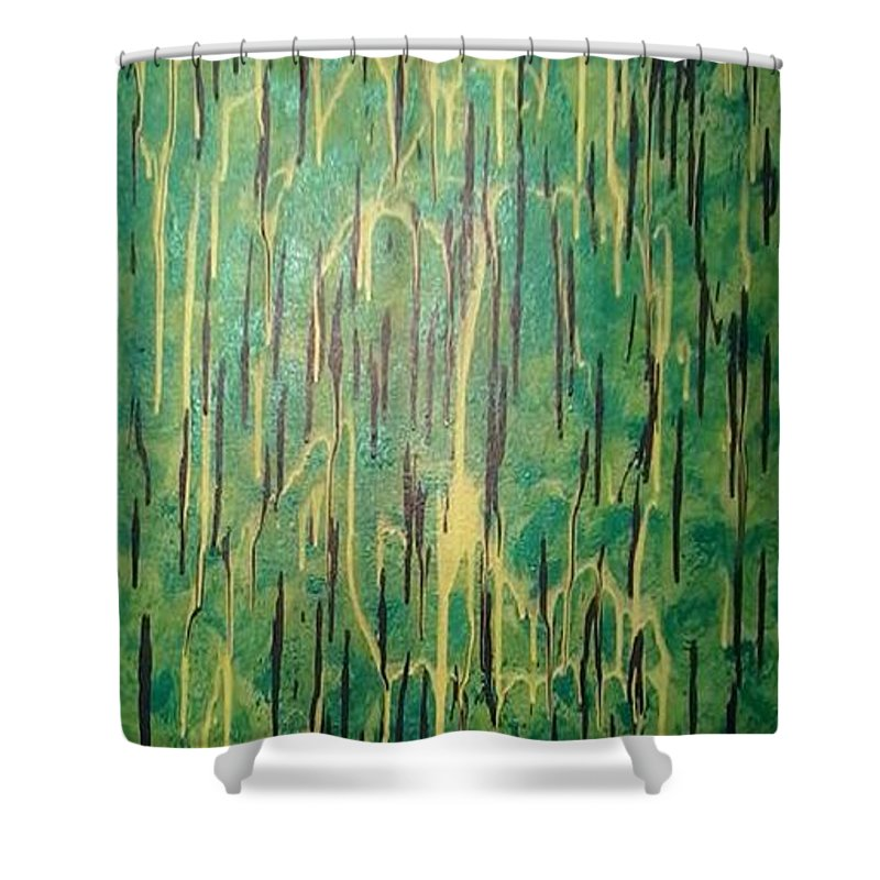 Green Shower Curtain featuring the painting The Forrest by Earnestine Clay