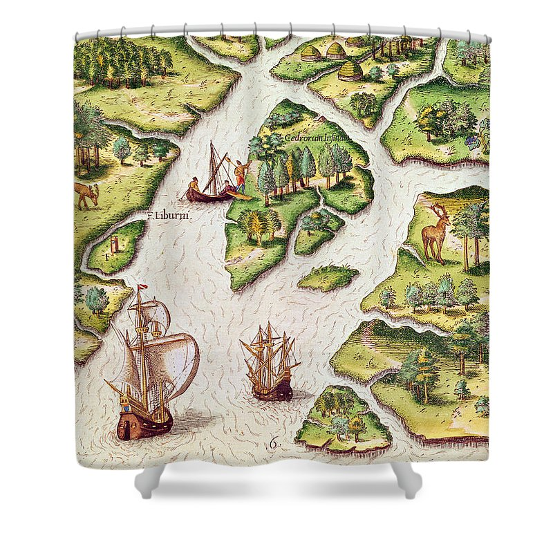 Libourne Island Shower Curtain featuring the painting The French Erect A Column With The Royal Coat Of Arms by Jacques Le Moyne