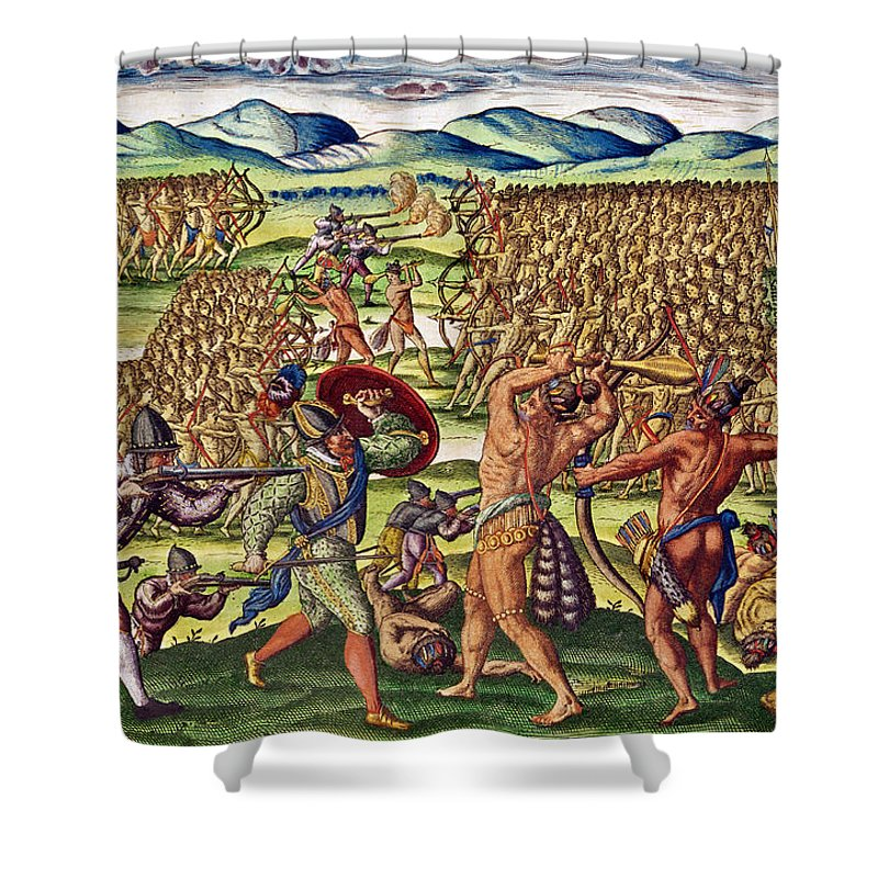 War Shower Curtain featuring the painting The French Help The Indians In Battle by Jacques Le Moyne