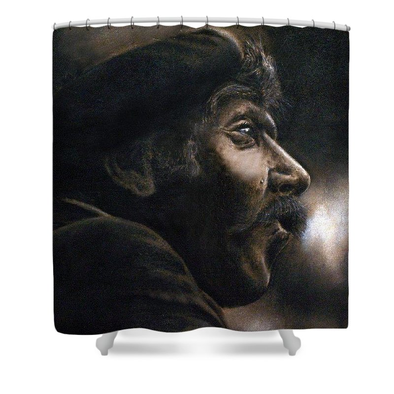 Portrait Shower Curtain featuring the pastel The Frenchman by Bill Stephens