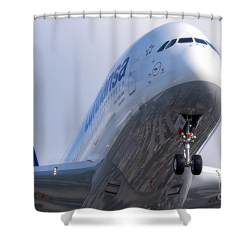 Airbus A380 Shower Curtain featuring the photograph The Front Office Lufthansa Airbus A-380 by Rene Triay Photography