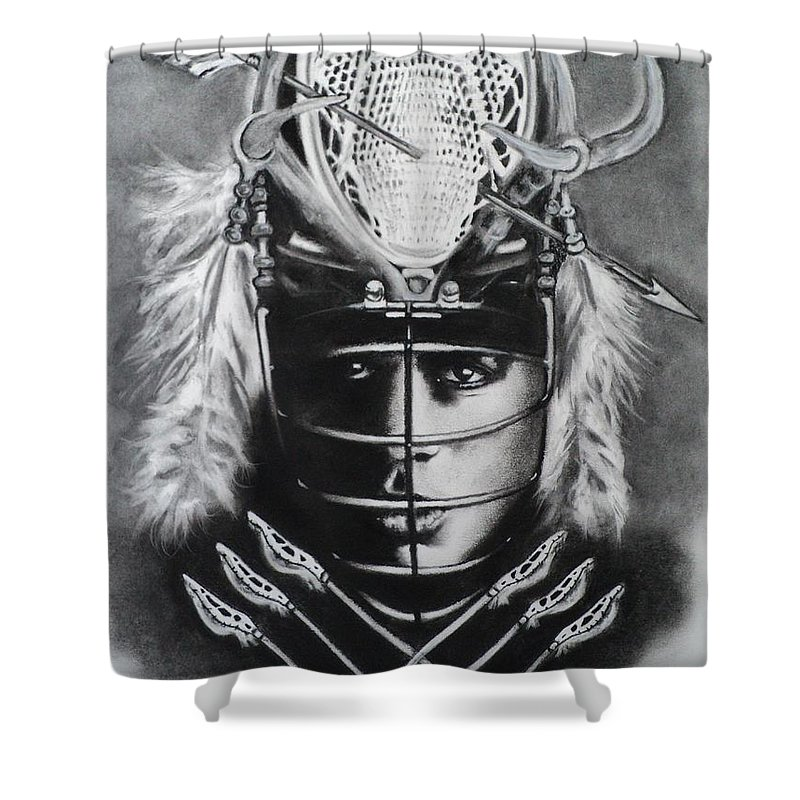 Native American Shower Curtain featuring the drawing The Game Of Lacrosse by Carla Carson