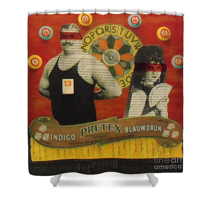 Assemblage Shower Curtain featuring the mixed media The Game Of Love by Desiree Paquette
