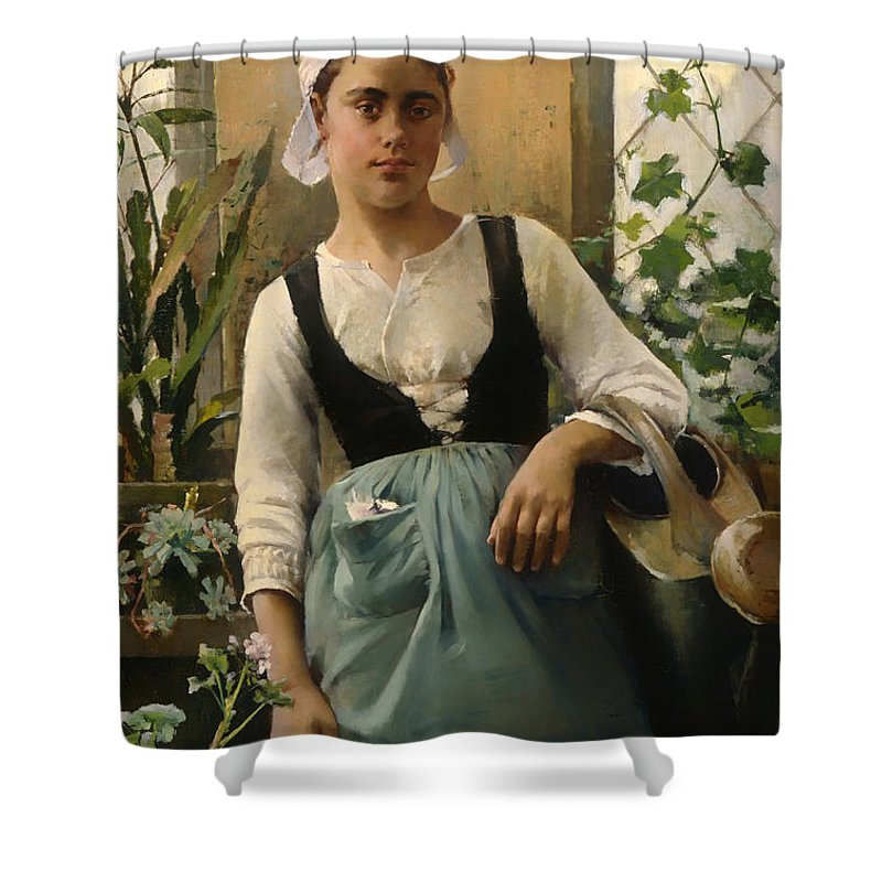Painting Shower Curtain featuring the painting The Garden Girl by Mountain Dreams