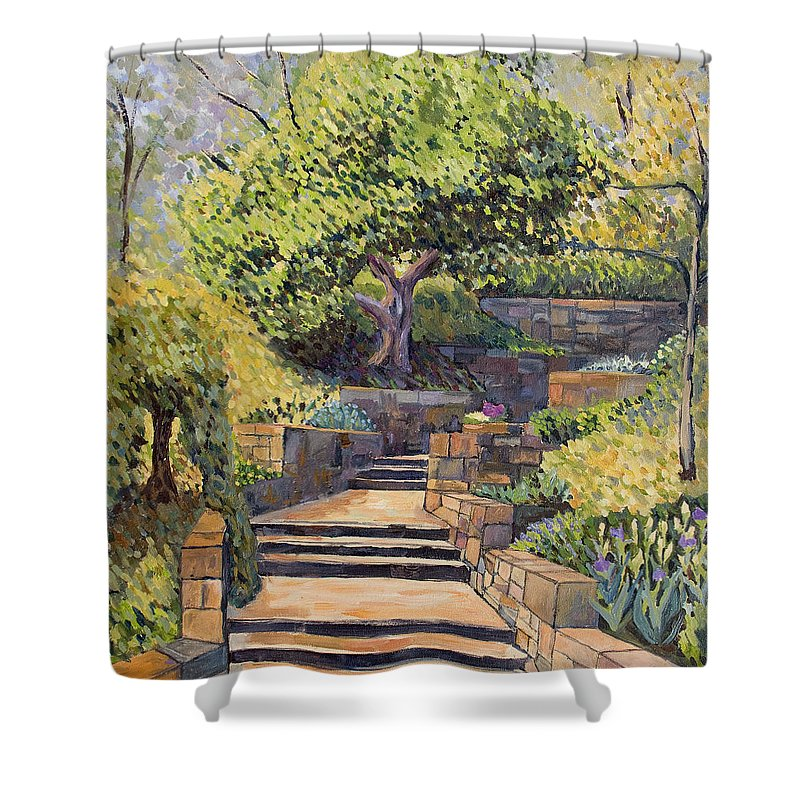 Impressionism Shower Curtain featuring the painting The Garden Stairs by Don Perino
