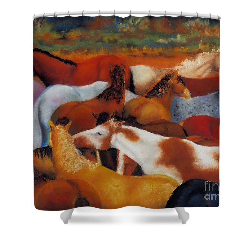 Herd Of Horses Shower Curtain featuring the painting The Gathering by Frances Marino
